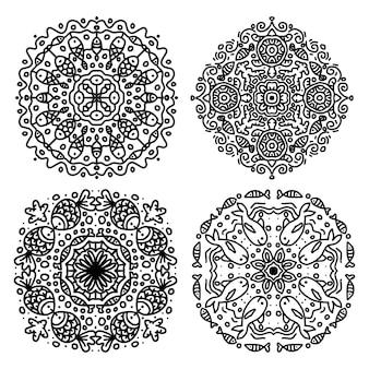 Set di cerchi vettoriali di mandala con motivo ornamentale di animali marini