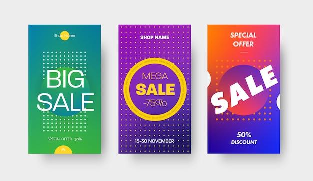 Set di modelli di gradiente di colore vettoriale per applicazioni mobili e social media. banner design con un cerchio e uno sconto del 50 e 75% su una grande vendita, offerte speciali.