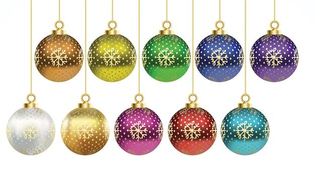 Set di vettore palle di natale colorate con ornamenti. collezione arredamento realistico isolato
