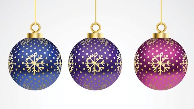 Set di vettore palle di natale colorate con ornamenti