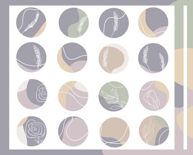 Set di copertine vettoriali di soggetti con sfondi astratti