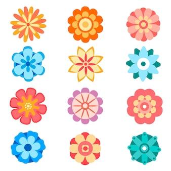 Set di icone vettoriali fiore decorativo in stile piano. collezione di silhouette di fiori di primavera. illustrazione clipart floreale.