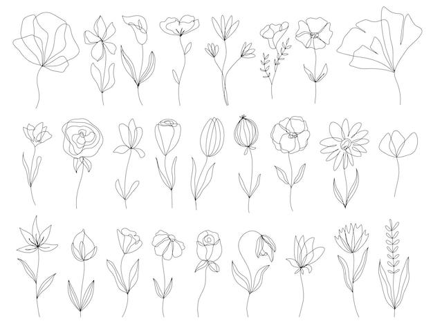 Set di elementi floreali disegnati a mano di doodle di vettore elementi di decorazione per invito di design
