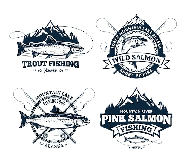 Set di distintivi di pesca vettoriali ed elementi di design