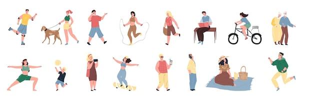 Set di personaggi dei cartoni animati piatti vettoriali godono di attività all'aperto estive-camminare, andare in bicicletta, pattinare, saltare, correre, leggere, fare yoga. concetto sociale di stile di vita sportivo sano, design banner del sito web