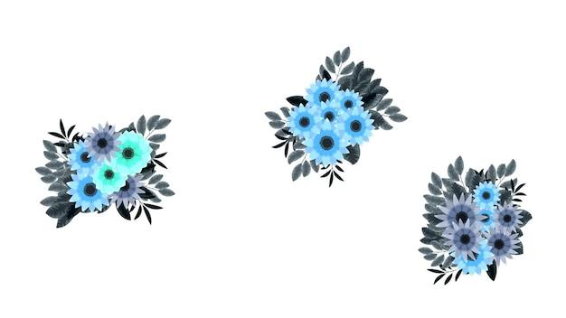 Set di elementi floreali vettoriali e cornici di fiori dettagliate per biglietti di auguri inviti di nozze