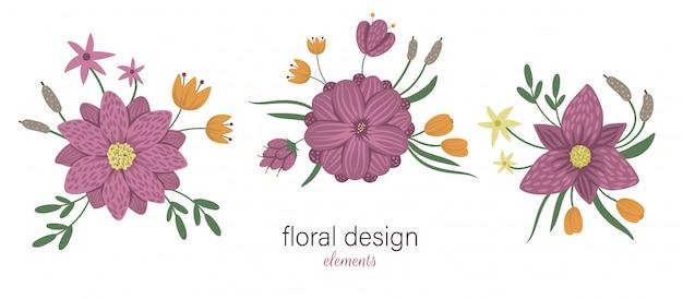 Insieme degli elementi decorativi orizzontali floreali di vettore. illustrazione alla moda piatta con fiori, foglie, rami, canne, ninfee. palude, bosco, raccolta di clip art forestali