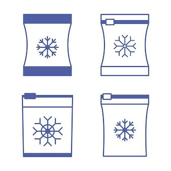 Set di sacchetti per alimenti surgelati vettoriali sacchetto per congelamentocontenitori e sacchetti per prodotti semilavorati alimentari congelati