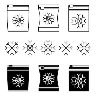 Set di sacchetti vettoriali per alimenti surgelati confezionato per congelamento confezionato sottovuoto per il congelamento degli alimenti