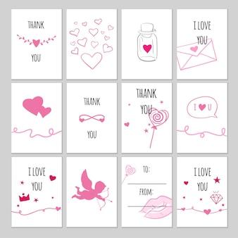 Set di etichette regalo vettoriali per san valentino. carte vettoriali romantiche ed etichette per regali con scarabocchi disegnati a mano.