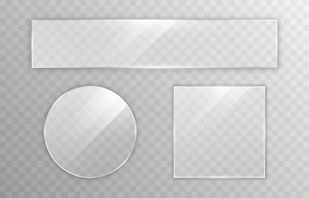 Set di vetro vettoriale specchio per finestra effetto trasparenza riflesso abbagliamento png vetro finestra png cornice in vetro superficie in vetro