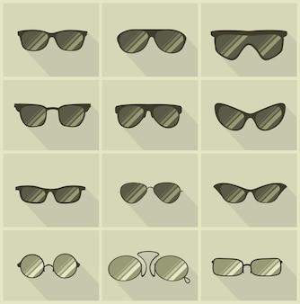 Set di occhiali vettoriali in stile vintage con sfondo color oliva