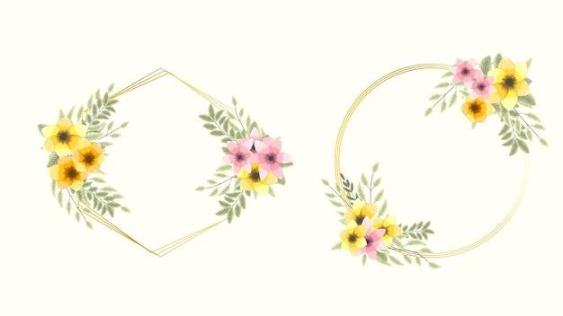 Set di elementi floreali vettoriali di lusso dorato premium e cornici di fiori in stile dettagliato