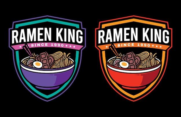 Impostare il design del logo grafico vettoriale del fumetto di noodle ramen con stile retrò vintage in sfondo nero