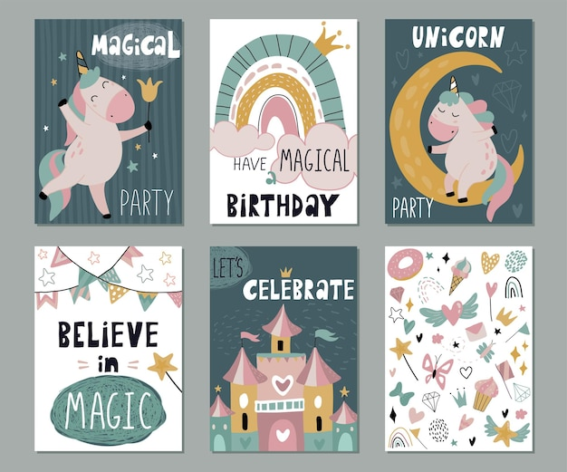 Set di biglietti di auguri vettoriali o inviti per il compleanno