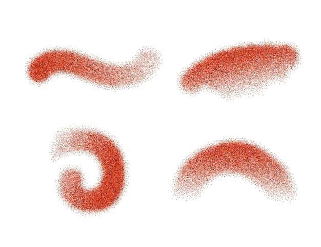 Set di elementi vettoriali di peperone rosso macinato