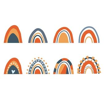 Set di arcobaleni disegnati a mano vettoriali su uno sfondo bianco elementi di design per il tessuto di stampa del logo