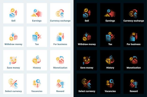 Set di icone vettoriali in stile sfumato. illustrazioni modificabili