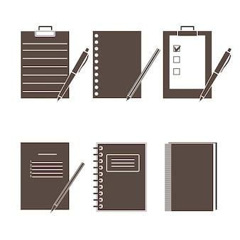Set di icone vettoriali di forniture per ufficio.