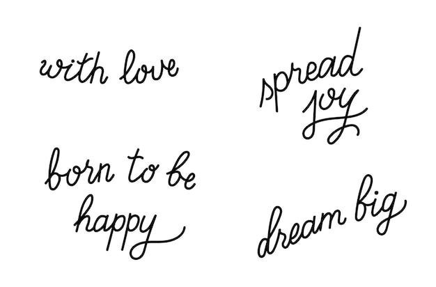 Set di illustrazione vettoriale di citazione di ispirazione lettering disegnato a mano. manifesto di tipografia.
