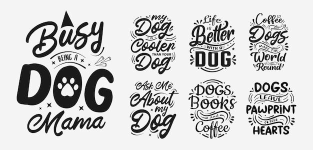 Set di illustrazione vettoriale con scritte sulla tipografia di citazioni divertenti disegnate a mano di cane per tshirt