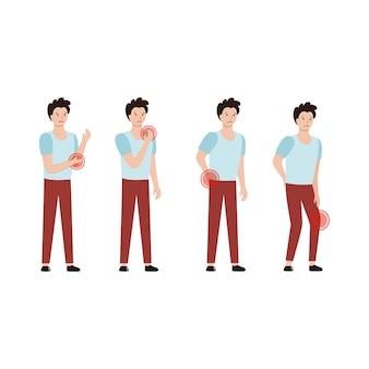 Serie di illustrazioni vettoriali. l'uomo lamenta dolori alle articolazioni, ai muscoli e alla schiena. attingendo al tema della medicina, delle malattie, della condrosi e dell'ernia spinale. un paziente all'appuntamento del medico..