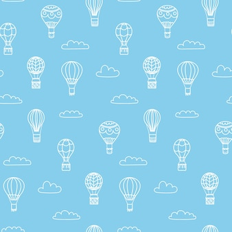 Set di illustrazioni vettoriali di mongolfiera di contorno su sky