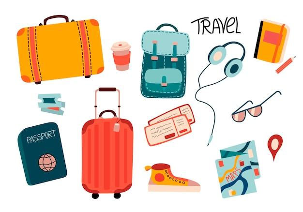 Set di illustrazioni vettoriali per viaggiare con valigie biglietti mappa cuffie tazza da caffè bicchieri
