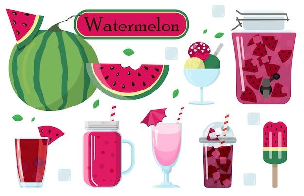 Set di illustrazioni vettoriali di anguria e cibo da esso per la giornata mondiale dell'anguria ad agosto
