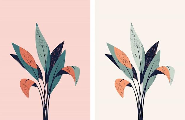 Insieme delle illustrazioni di vettore con le foglie.