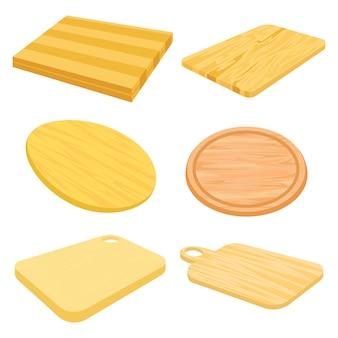 Impostare immagini vettoriali del tagliere in legno.