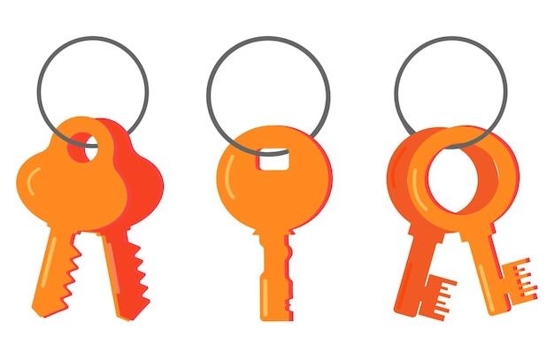 Un set di chiavi vettoriali, un'icona piatta in stile cartone animato, un mazzo moderno e classico di chiavi della porta in stile retrò appese a un anello.