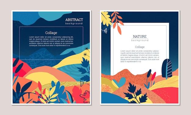 Set di poster artistici moderni vettoriali con piante di texture disegnate a mano