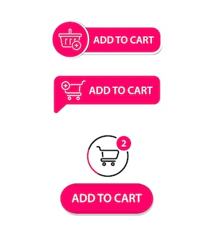 Insieme dei bottoni piatti alla moda moderni di vettore. aggiungi al carrello. pulsante acquista ora per un sito. interfaccia utente moderna acquista ora per il negozio online, elementi dell'interfaccia e-commerce. carrello della spesa