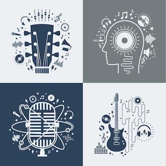 Set di illustrazioni di musica vettoriale.