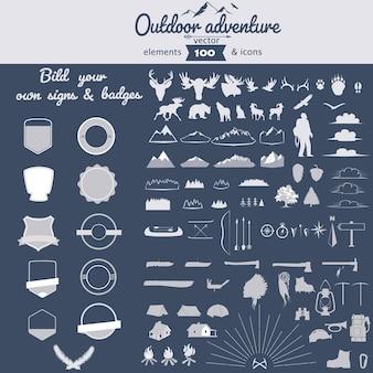 Set di elementi vettoriali di avventura all'aperto e icone per badge di autocostruzione