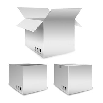 Set di scatole di imballaggio vettoriali o cartoni di cartone per traslochi e trasporto in posizione aperta e chiusa