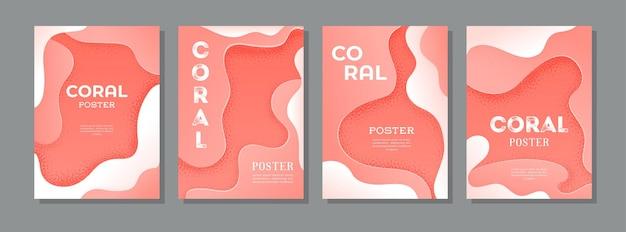 Set di poster vettoriali in colori coralli viventi