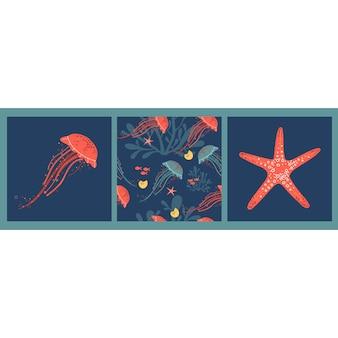 Set di poster vettoriali con stelle marine meduse rosa disegnate a mano e motivo con meduse e alghe