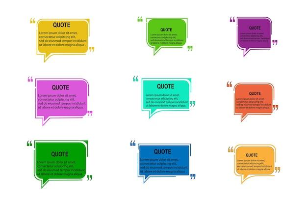 Set di modelli di preventivo vettoriale. fumetto, cornice, testo tra parentesi