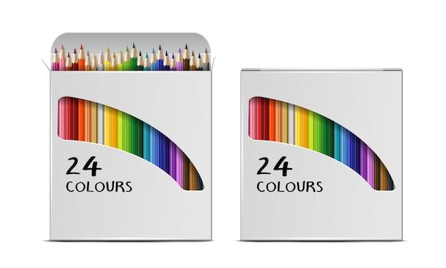 Insieme delle scatole realistiche di vettore delle matite colorate isolate su fondo bianco. pacchetti aperti e chiusi con matite colorate. modello di progettazione, clipart o mockup per la tua grafica. vista dall'alto
