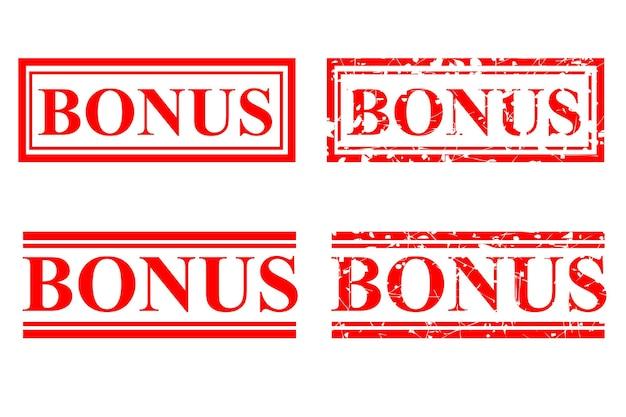 Impostare il bonus timbro di gomma rosso vettoriale