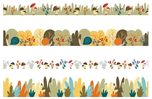 Set di bordi autunnali senza cuciture vettoriali cadono bacche e fiori di bosco