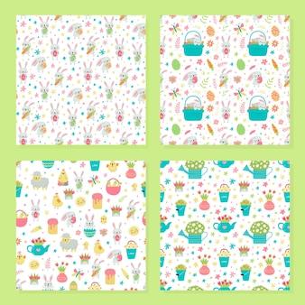 Set di vector seamless pattern per pasqua con conigli e uova e disegni di primavera.