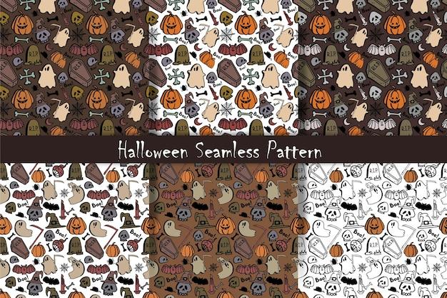 Impostare reticolo senza giunte di vettore del giorno di halloween sfondo carino divertente per il design tessile