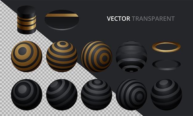 Set di sfere e palline vettoriali su uno sfondo trasparente