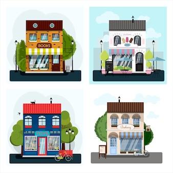 Una serie di negozi vettoriali ristoranti e bar design piatto di facciate