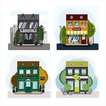 Una serie di negozi vettoriali ristoranti e bar design piatto di facciate Vettore Premium
