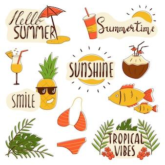 Set di icone estive vettoriali