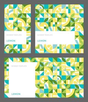 Set di modelli vettoriali per banner con limone modello senza cuciture in stile bauhaus con spazio copia per storie pubblicitarie social media sfondo geometrico astratto mosaico di forme ripetute semplici